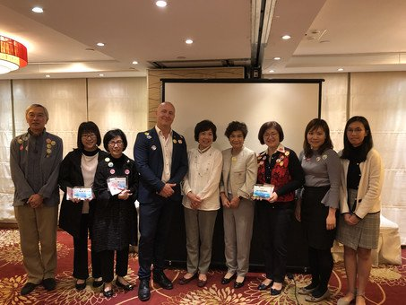 Group Photo (from left to right): Mr. Jimmy Lo, Ms. Alice Chan, Ms. Betty Lee, Mr. Stephen Hindes, Mrs. Fanny Lam, Mrs. Mabel Lee, Principal Chen Hing and her teammates.